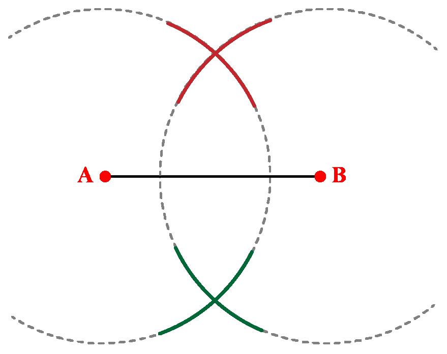 draw arcs on both sides of AB