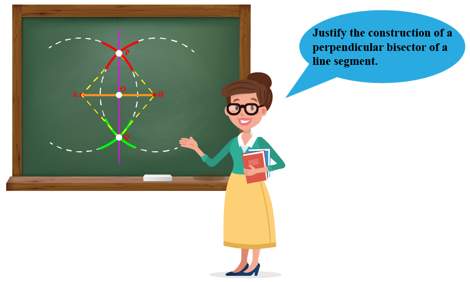 Teacher asking to justify the construction of a perpendicular bisector a line segment.