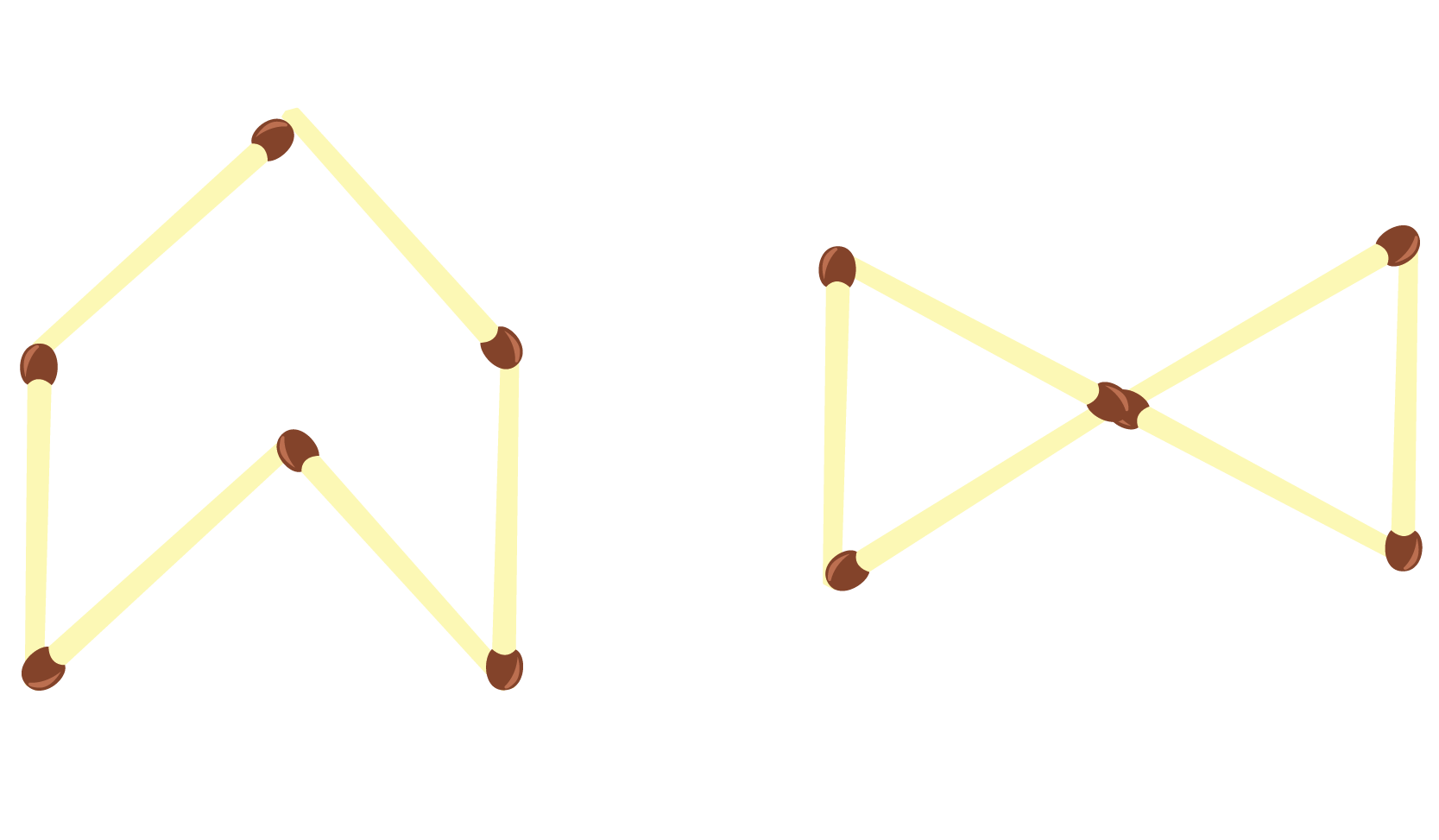 different shapes with 6 sides.