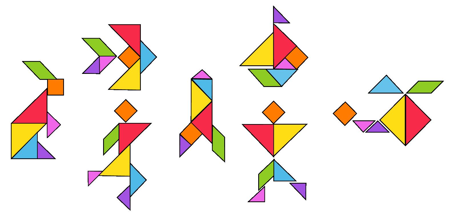 Interesting shapes of 7-piece tangram