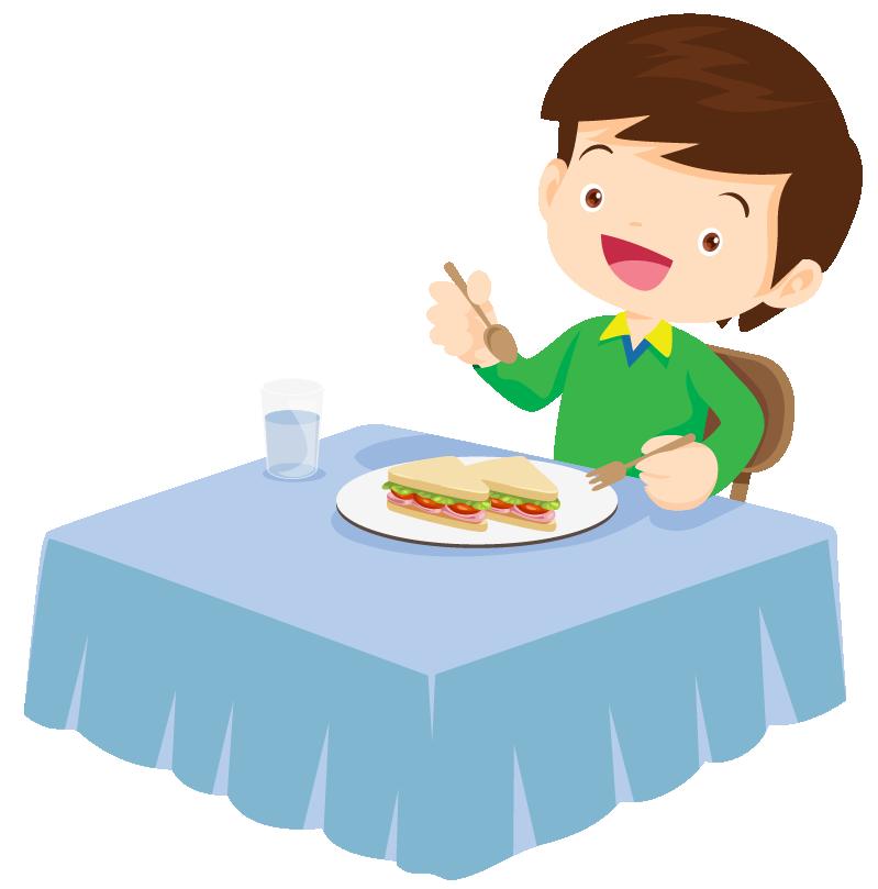 Shape of sandwich eaten by a boy.