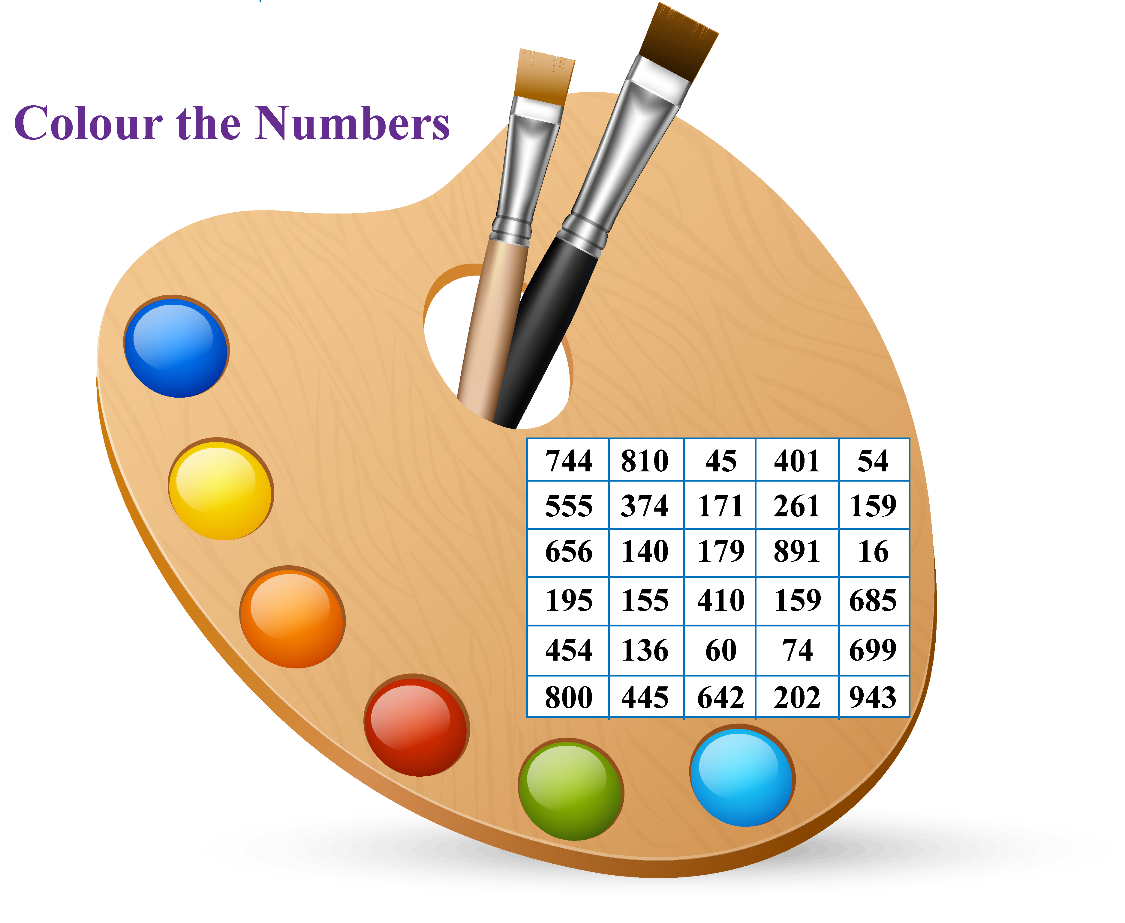 Practice numbers in words: Match the number names with the correct number given in the grid.