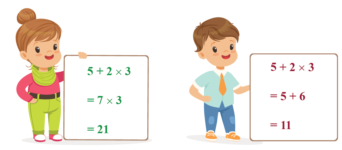 An example of a girl and a boy solving a mathematical expression which involves multiplication and division. The boy solves the expression using the PEMDAS rule.