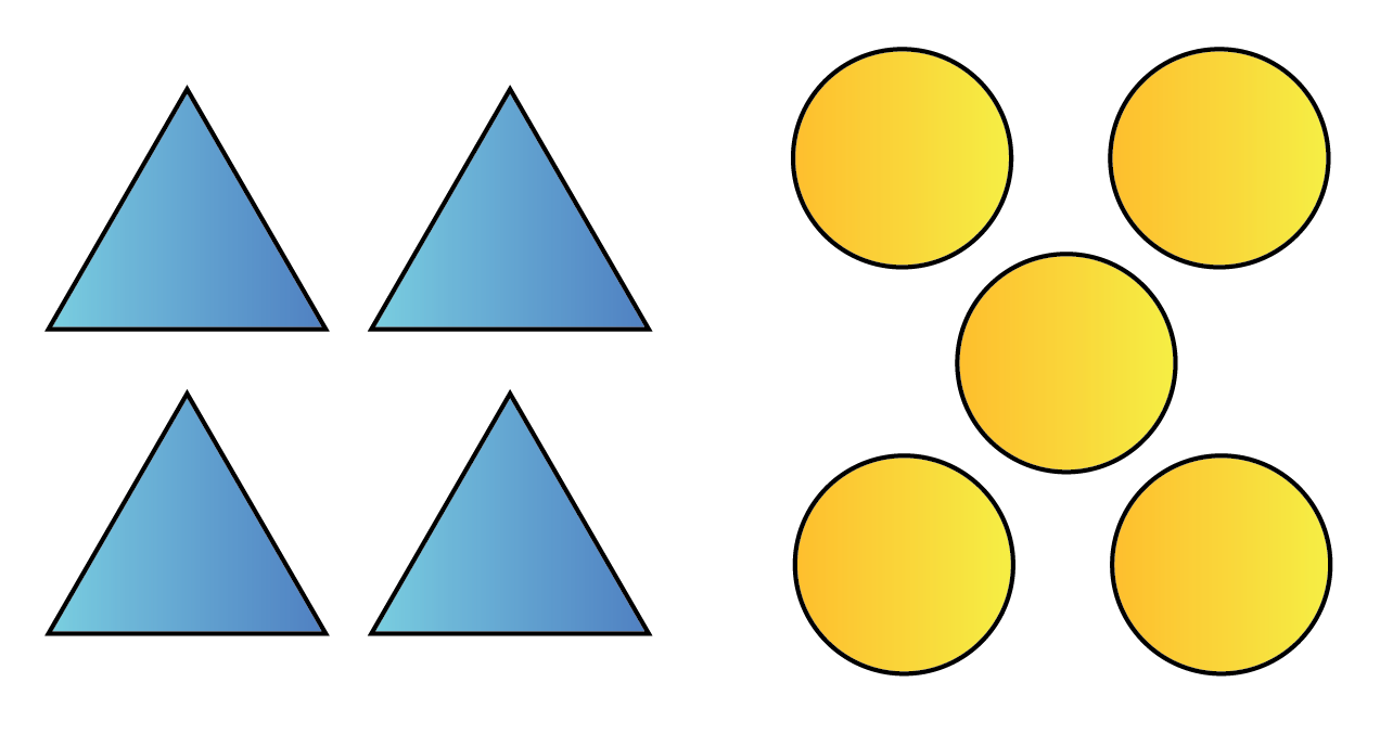 Ratio example showing 4 triangles and 5 circles