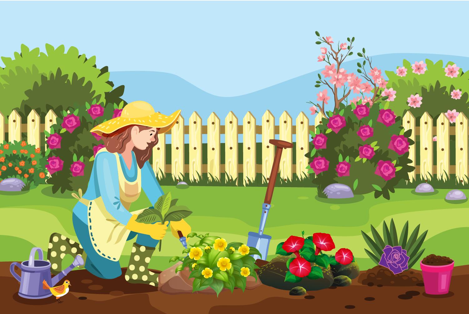 Flora loves growing flowers in her garden.