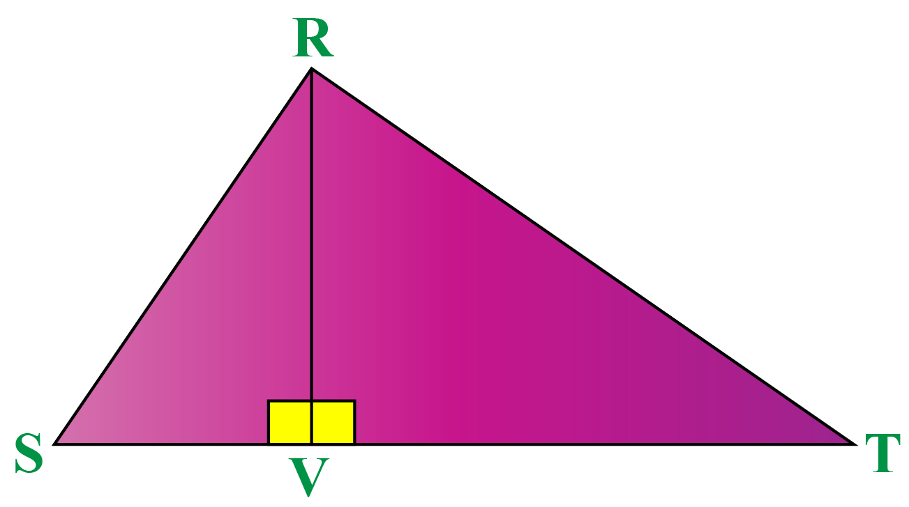 draw a perpendicular line \(RV \perp ST\)