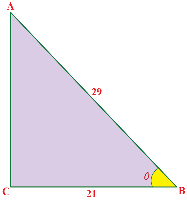 Triangle ABC with AC = 29 units and BC = 21 units