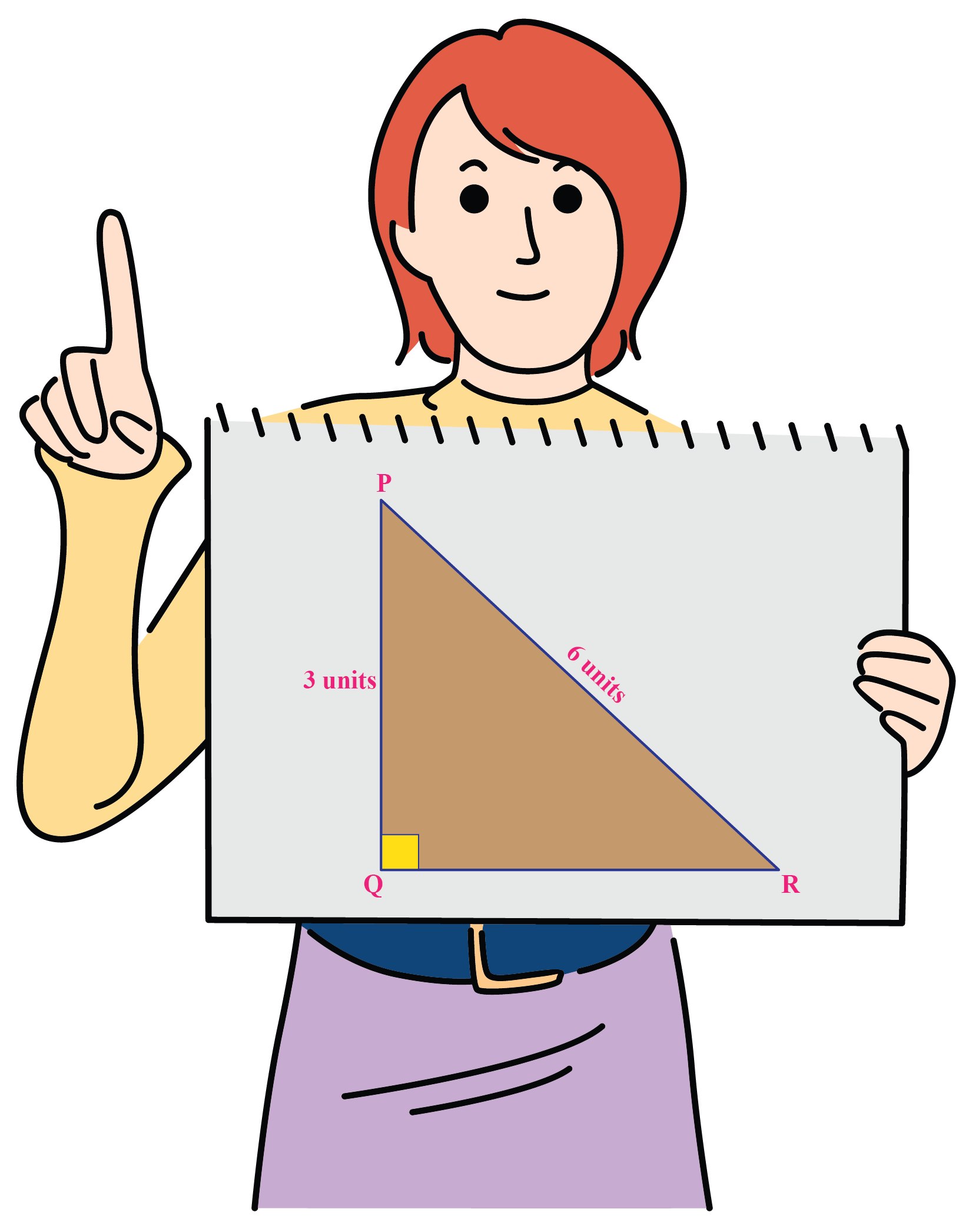 A girl wants to find the measure of two angles.