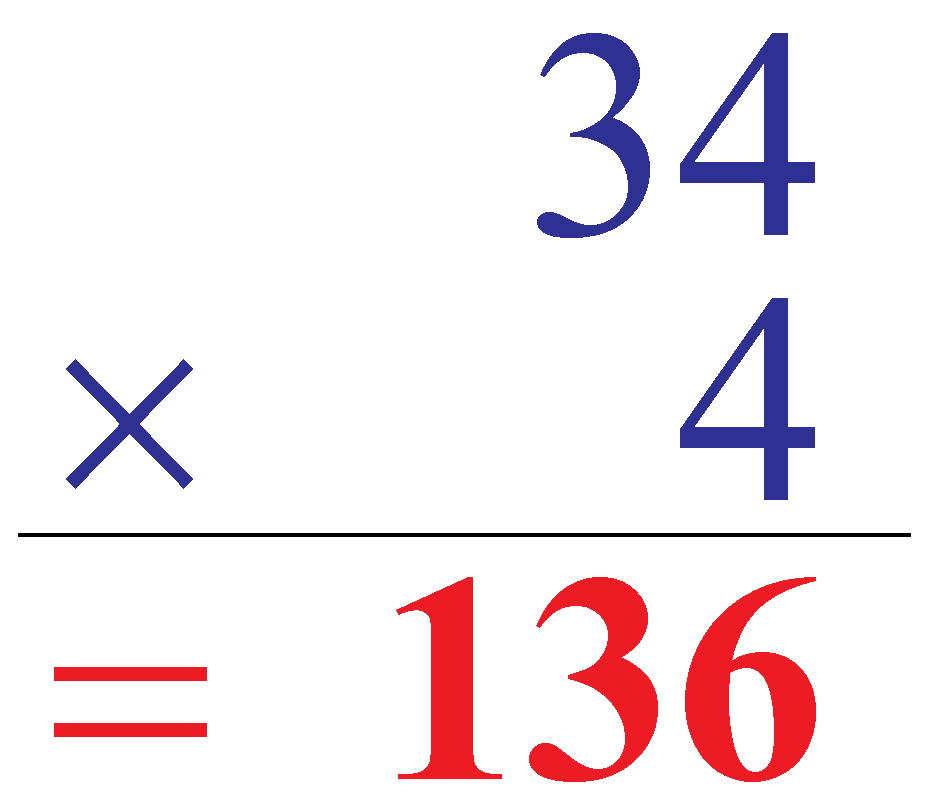 Multiplication of 34 and 4