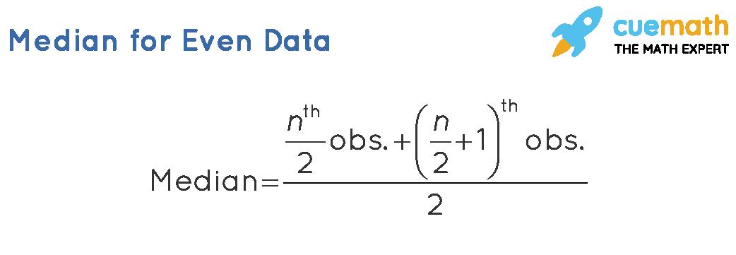 median formula used for n even data