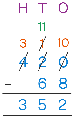 Subtraction With Regrouping Example