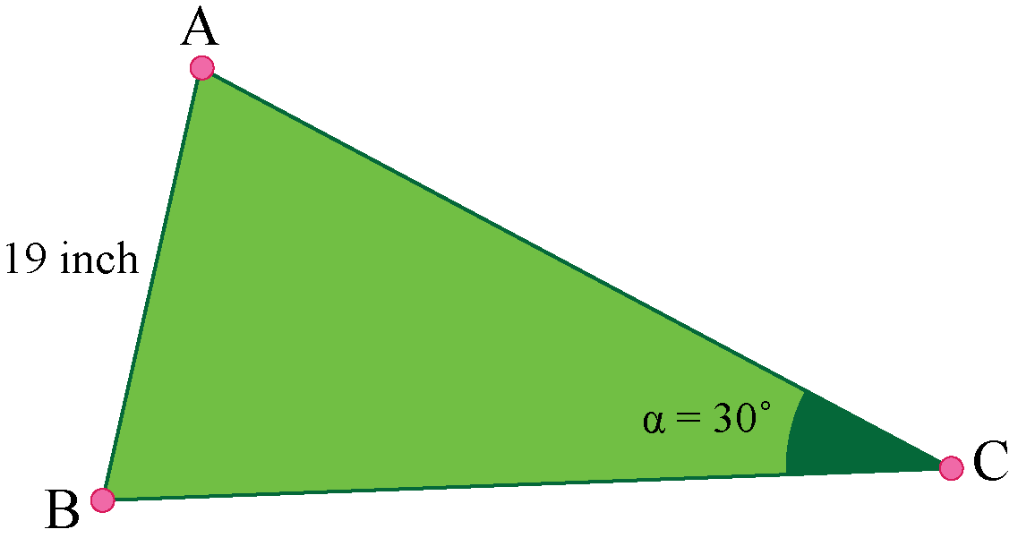 circumcenter of the triangle with given side and angle