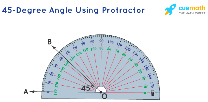 how to get 45 degree angle with a protractor