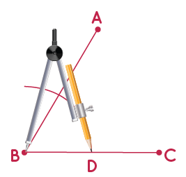 constructing congruent angle to a given angle step 2