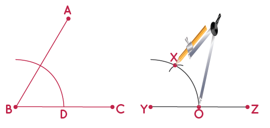 construction of congruent angle to a given angle step 5