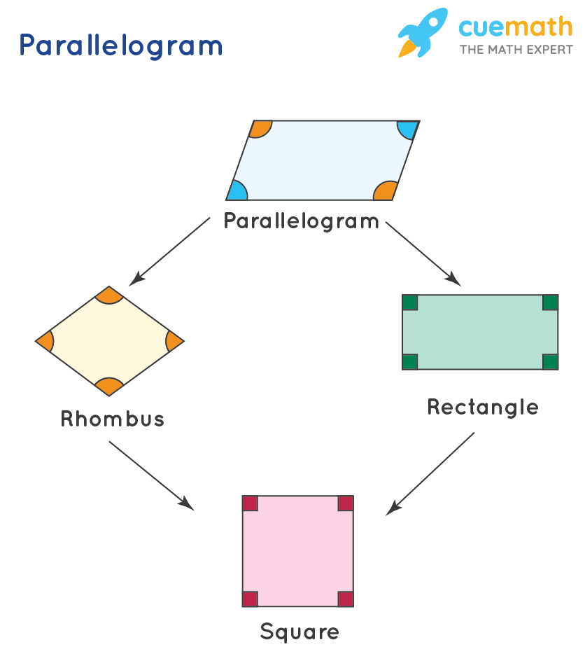 A parallelogram is shown. A rectangle, a square, and a rhombus are shown as parallelogram examples.
