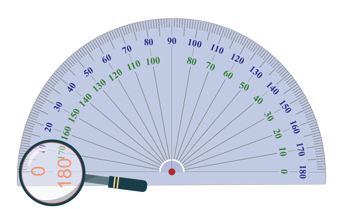 Protractor showing degrees marked along its inner part and outer edge