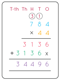 multiplication for three numbers by two numbers