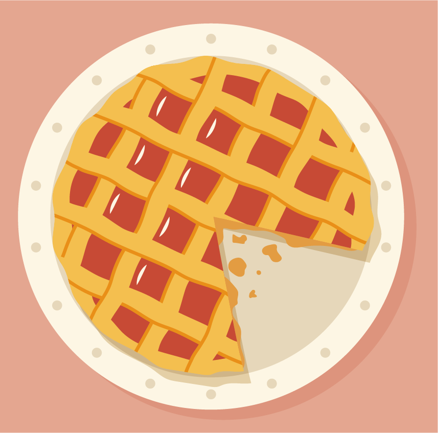 There is 5 by 8 portion of a pie. Daniel eats one fourth of that pie.