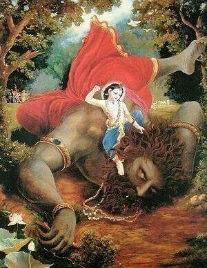 Krishna killing narakasura