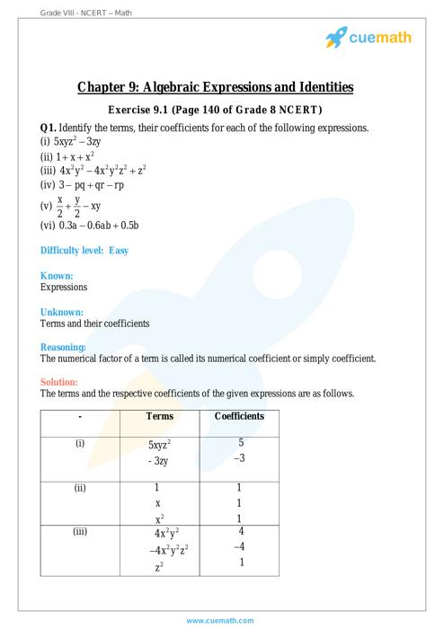 Algebraic Expressions and Identities Maths NCERT Solution