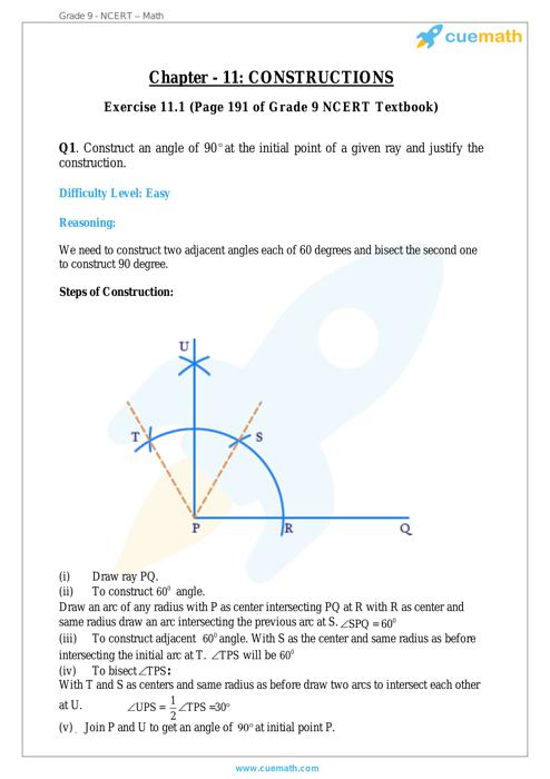 Constructions Maths NCERT Solution free Download for 9th