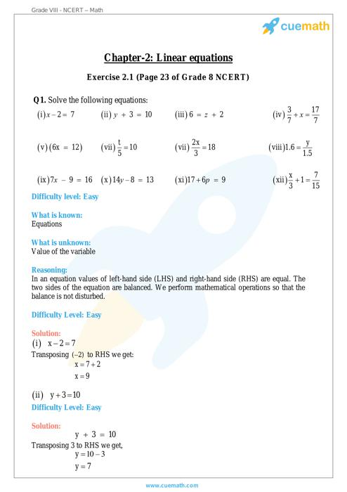 Linear Equations In One Variable Maths Ncert Solution Free Download For 8th Class Cuemath