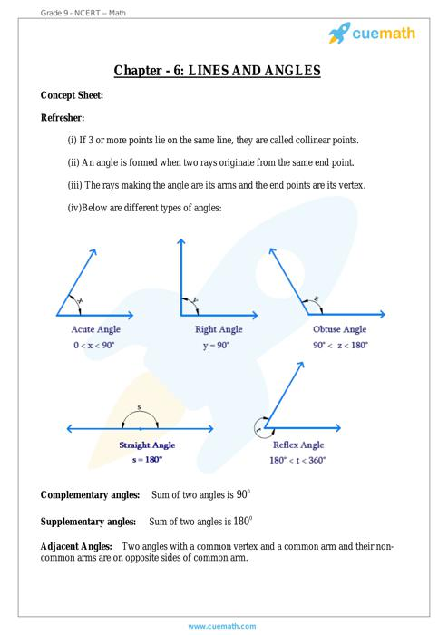 Lines and Angles Maths NCERT Solution free Download for 9th