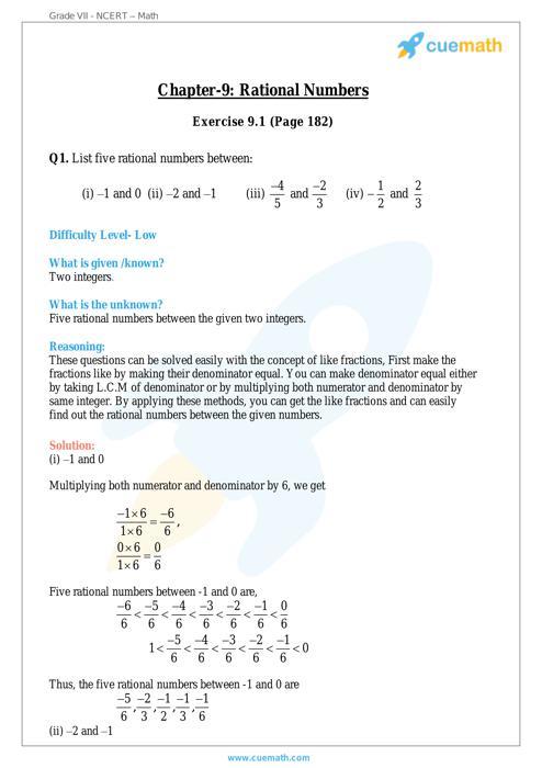 Rational Numbers - NCERT Class 7 Maths Maths NCERT Solution free