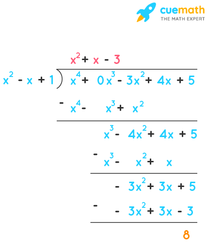 Divide the polynomial p(x) by the polynomial g(x) and find the quotient and remainder in each of the following: (i) p(x) = x³ - 3x² + 5x - 3, g(x) = x² - 2 (ii) p(x) = x⁴ - 3x² + 4x + 5, g(x) = x² + 1 - x (iii) p(x) = x⁴ - 5x + 6, g(x) = 2 - x²