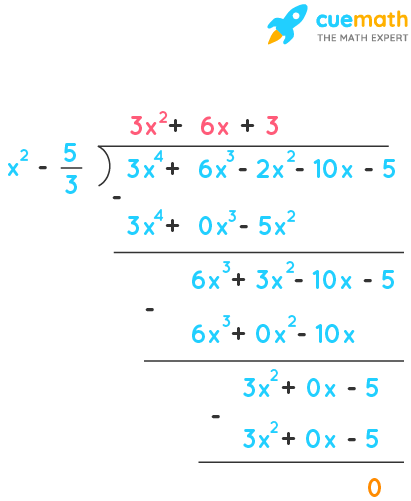 Obtain all other zeroes of 3x⁴ + 6x³ - 2x² - 10x - 5, if two of its zeroes are √5/3 and -√5/3