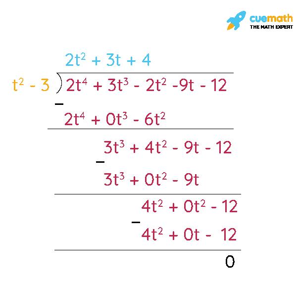 (i) t2- 3, 2t4+ 3t3- 2t2- 9t - 12