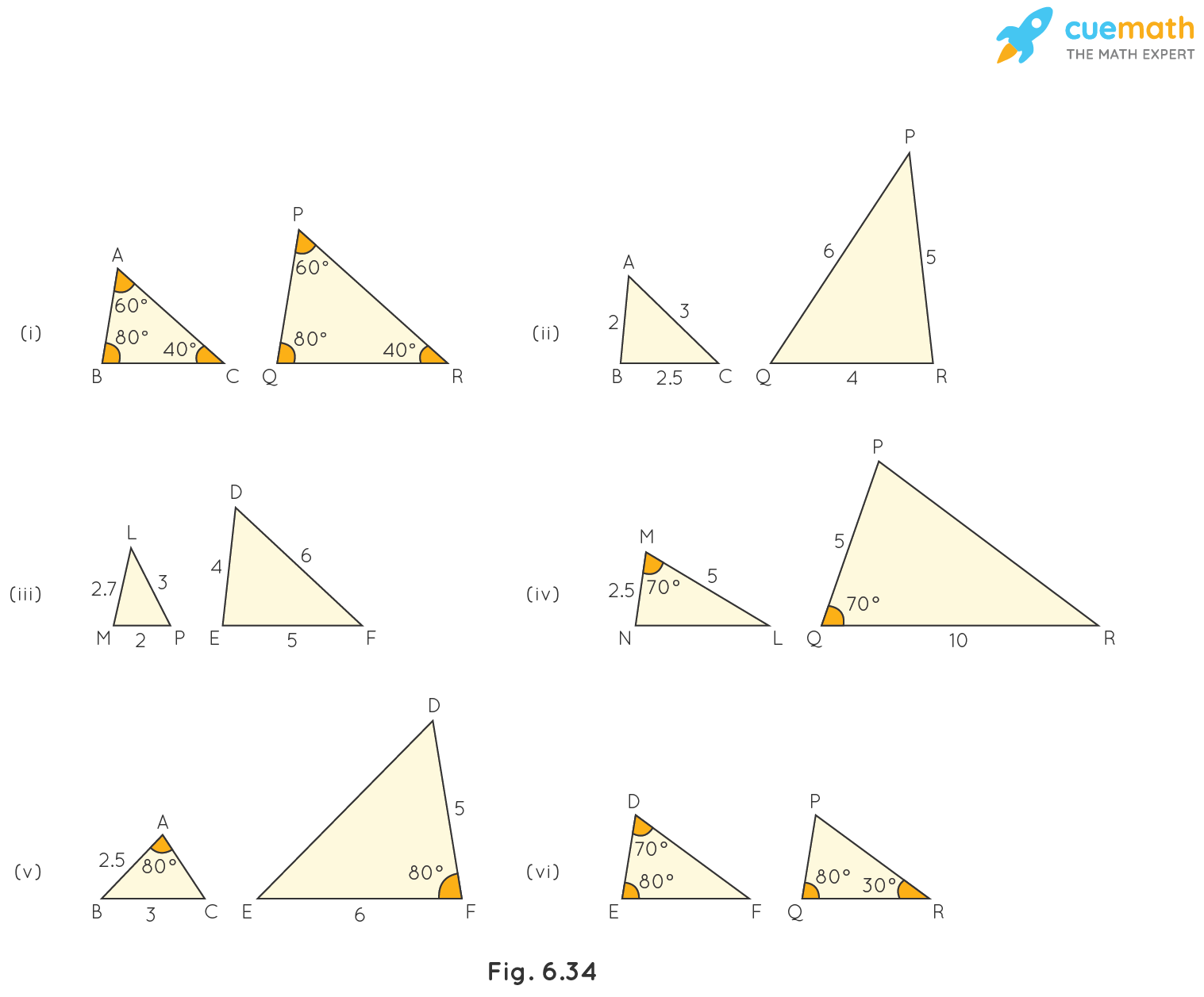 State which pairs of triangles in Fig. 6.34 are similar. Write the similarity criterion used by you for answering the question and also write the pairs of similar triangles in the symbolic form: