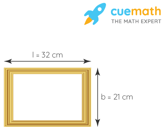 What is the length of the wooden strip required to frame a photograph of length and breadth 32 cm and 21 cm, respectively?