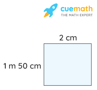 A table-top measures 2 m by 1 m 50 cm. What is its area in square metres?
