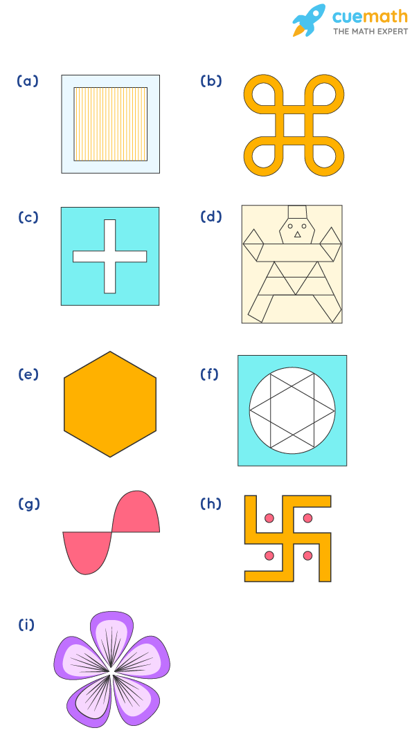 Find the number of lines of symmetry for each of the following shapes: