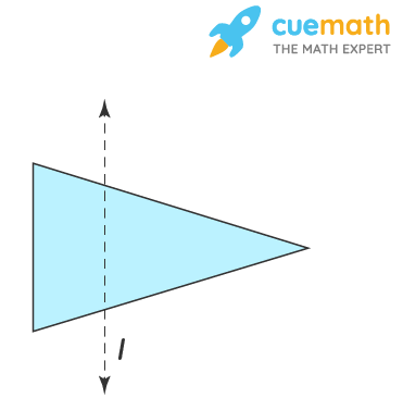 In the figure, l is the line of symmetry. Draw the image of the triangle and complete the diagram so that it becomes symmetric.