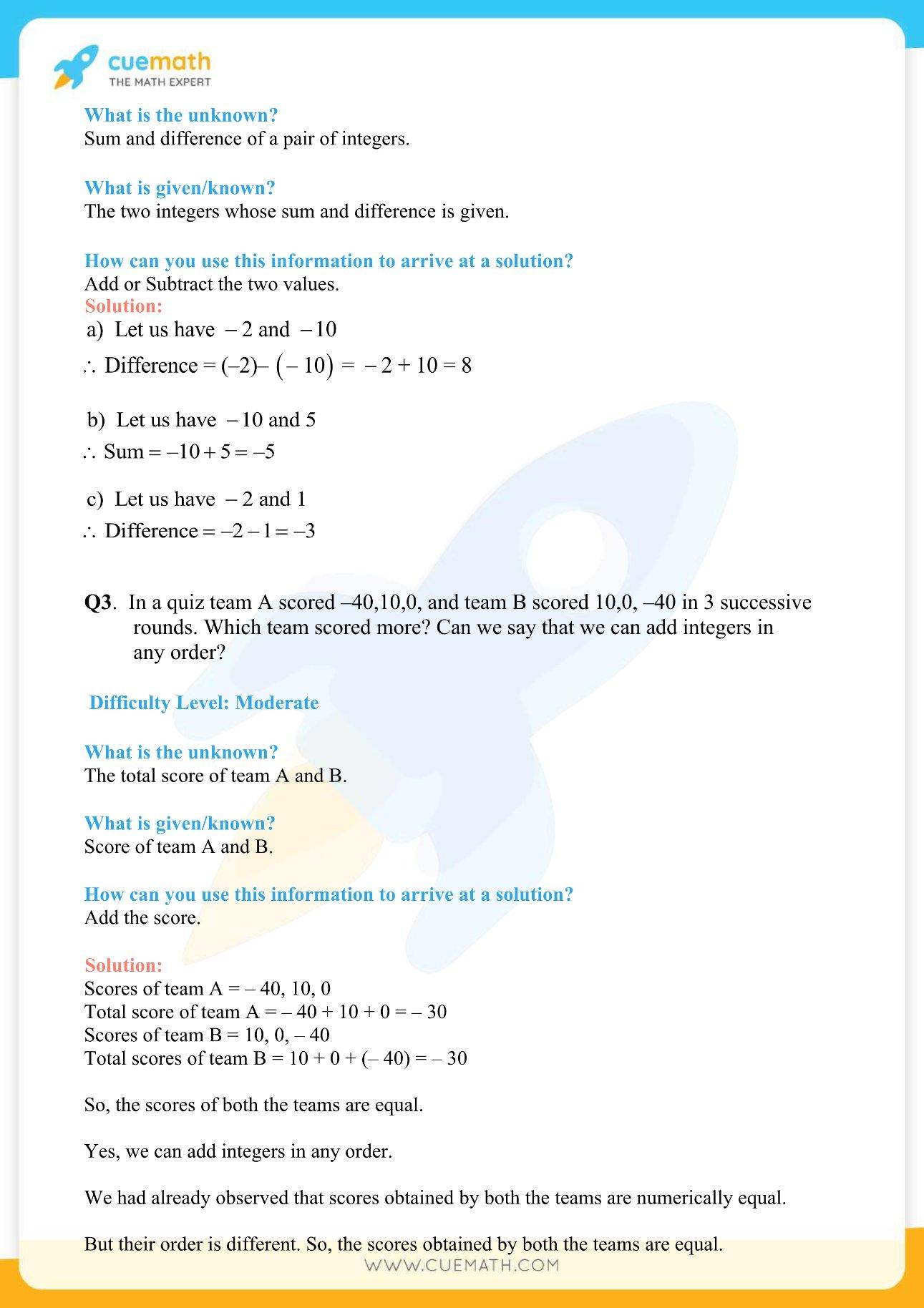 NCERT Solutions Class 7 Maths Chapter 1 Integers