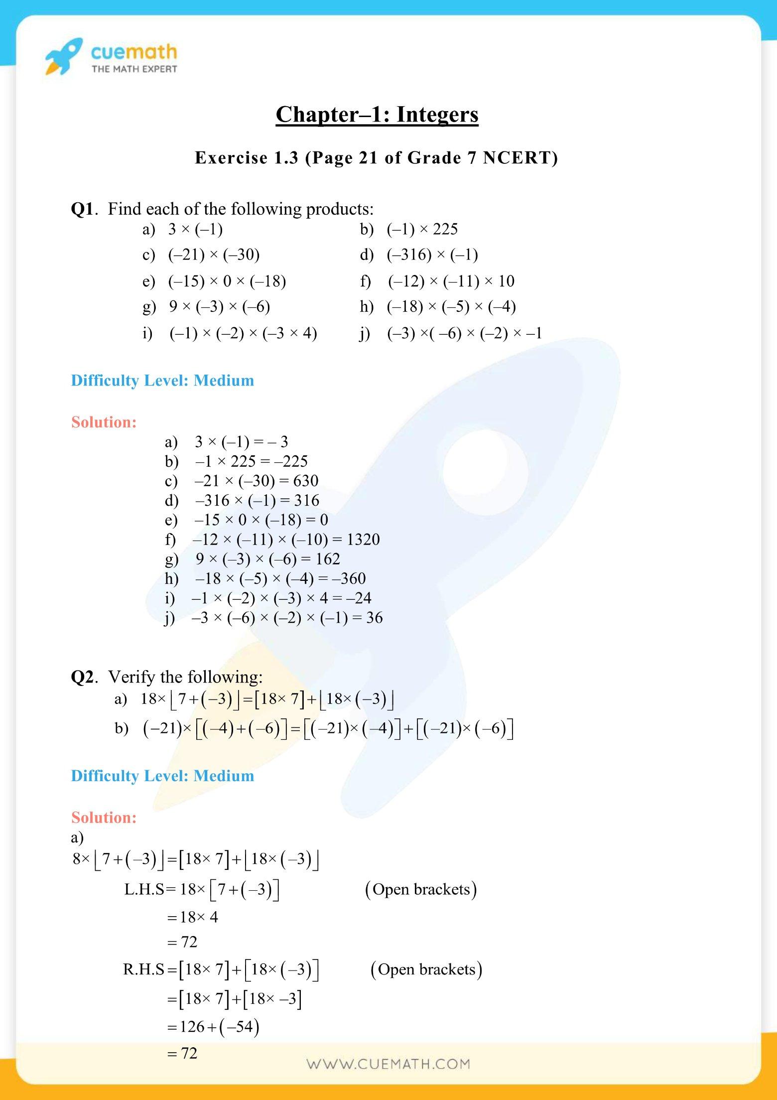NCERT Solutions Class 7 Maths Chapter 1 Exercise 1.3