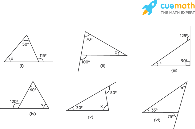Find the value of the unknown interior angle x in the following figures