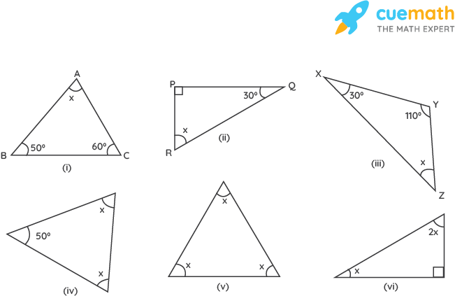 Find the value of the unknown x in the following diagrams