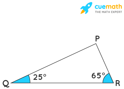Angles Q and R of a ∆PQR are 25º and 65º. Write which of the following is true: