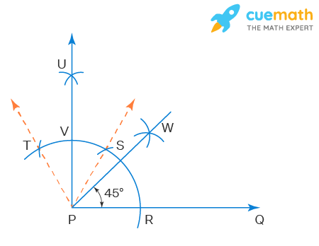 Construct an angle of 45° at the initial point of a given ray and justify the construction.