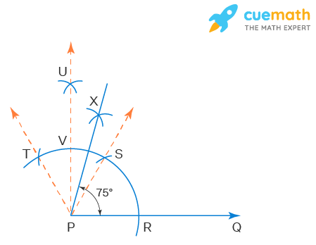 Construct the following angles and verify by measuring them by a protractor:(i) 75°   (ii) 105°   (iii) 135°