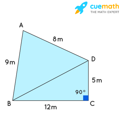 A park, in the shape of a quadrilateral ABCD, has ∠C = 90°, AB = 9 m, BC = 12 m, CD = 5 m and AD = 8 m. How much area does it occupy?