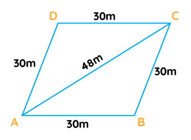 A rhombus shaped field has green grass for 18 cows to graze. If each side of the rhombus is 30 m and its longer diagonal is 48 m, how much area of grass field will each cow be getting
