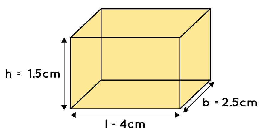 A matchbox measures 4 cm × 2.5 cm × 1.5 cm. What will be the volume of a packet containing 12 such boxes?