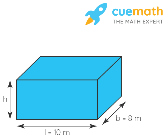 A cuboidal vessel is 10 m long and 8 m wide. How high must it be made to hold 380 cubic metres of a liquid?