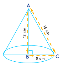 A right triangle ABC with sides 5 cm, 12 cm and 13 cm is revolved about the side 12 cm. Find the volume of the solid so obtained.