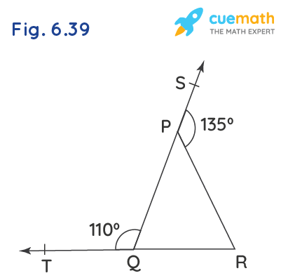 In Fig. 6.39, sides QP and RQ of ∆PQR are produced to points S and T respectively. If ∠SPR =135° and ∠PQT = 110°, find ∠PRQ.